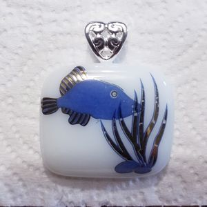 White/blue🐟salt water fish Glass pendant